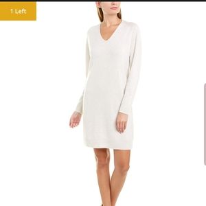 NWT Vince White Deep V-neck Sweater Dress